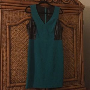 Teal green Andrew Marc dress pleather accents
